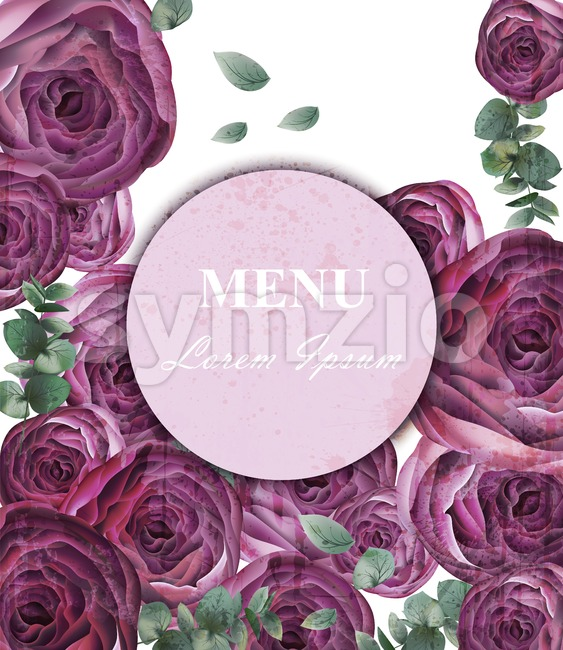 Peony flowers card Vector. Vintage old backdrop. Beautiful floral decor. ultra violet color Stock Vector