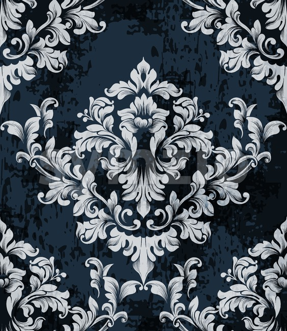 Damask texture pattern Vector. Luxury wallpaper ornament decor. Baroque Textile, fabric, tiles. Gray dark color Stock Vector