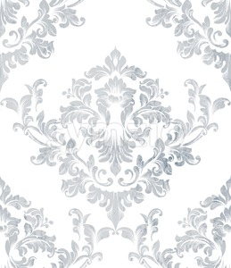 Damask texture pattern Vector. Luxury wallpaper ornament decor. Baroque Textile, fabric, tiles. Gray color Stock Vector