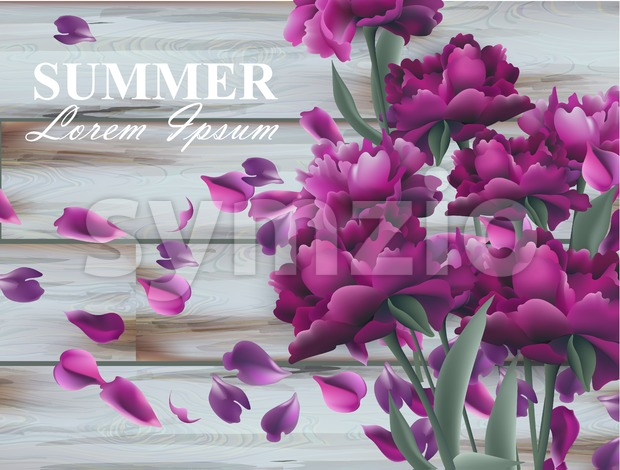 Summer background with peony bouquet on wooden background. Vector realistic 3d floral decor Stock Vector