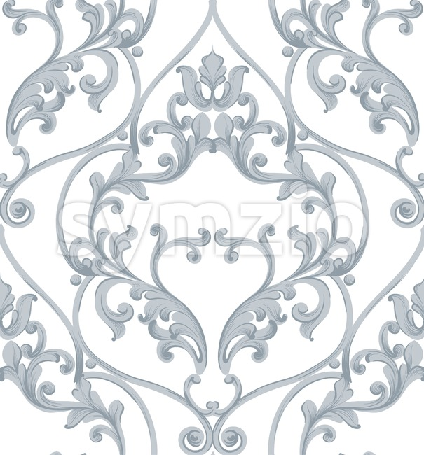 Baroque texture pattern Vector. Luxury wallpaper ornament decor. Textile, fabric, tiles. Gray color