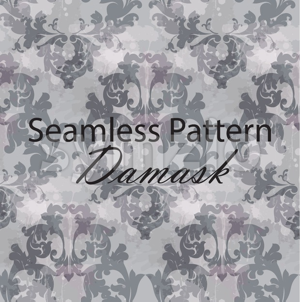 Vintage Baroque seamless texture pattern Vector. Wallpaper ornament decor. Textile, fabric, tiles. Gray color