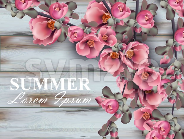 Summer background with pink flowers branches on wooden background. Vector realistic 3d floral bouquet