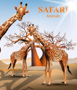 Giraffe and baobab tree safari background Vector. Animals wildlife illustration Stock Vector