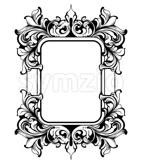 Vintage Frame Vector. Classic rich ornamented carved decors. Baroque sophisticated design