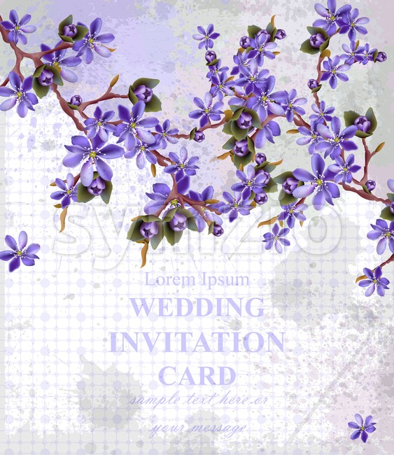 Vintage Wedding Invitation card with purple flowers Vector. Beautifull frame decor Stock Vector