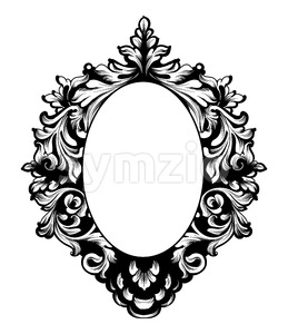 Round Frame Vector. Classic rich ornamented carved decors. Baroque sophisticated design Stock Vector