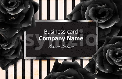 Black roses business card Vector. Elegant luxury flowers decor. Modern striped texture background Stock Vector