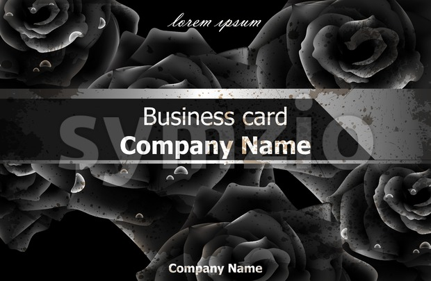 Black roses luxury background Vector. Elegant flowers decor card. Business card template Stock Vector