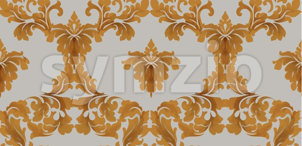 Baroque seamless pattern Vector. Royal texture. Victorian fabric decor golden color Stock Vector