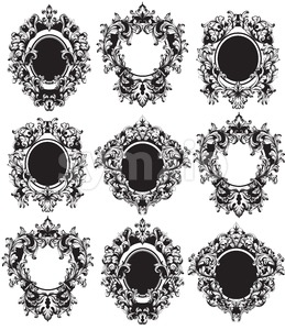 Vintage Frames set Vector. Classic rich ornamented carved decors. Baroque sophisticated intricate design repetition Stock Vector