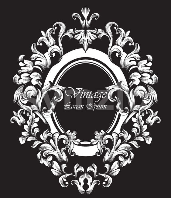 Round silver Frame Vector. Classic rich ornamented carved decors. Baroque sophisticated design Stock Vector
