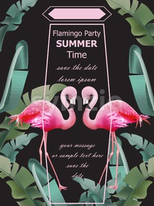Flamingos party Summer card Vector. Tropic exotic dark poster Stock Vector