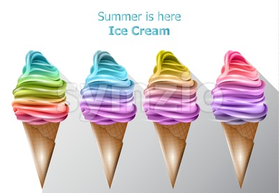 Colorful ice cream cones Vector. Summer sweet fruits flavor desserts Stock Vector