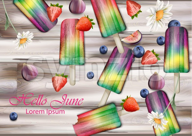 Colorful ice creams on wooden background Vector. Summer exotic fruits flavors ice cream