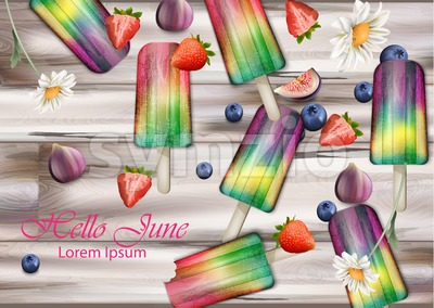 Colorful ice creams on wooden background Vector. Summer exotic fruits flavors ice cream Stock Vector