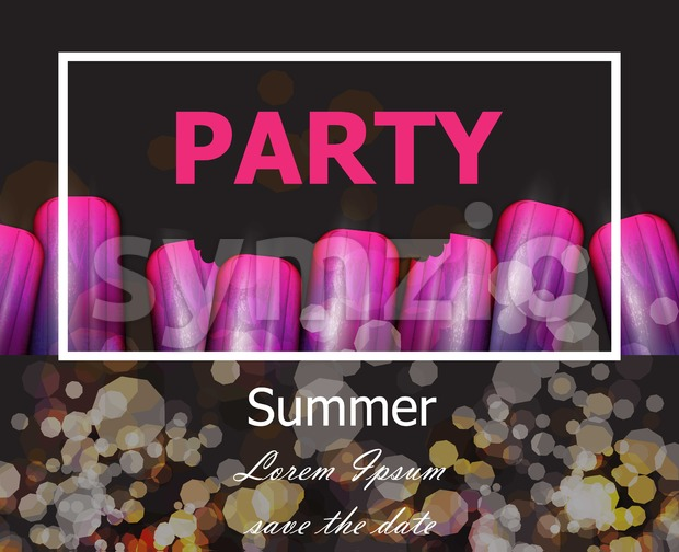Summer party with ultra violet ice creams Vector. Modern party card