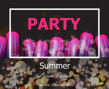 Summer party with ultra violet ice creams Vector. Modern party card Stock Vector