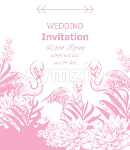 Wedding invitation Vector with summer tropic theme pink color Stock Vector