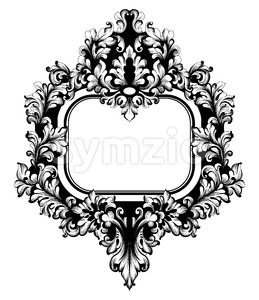 Vintage Frame Vector. Classic rich ornamented carved decors. Baroque sophisticated design Stock Vector