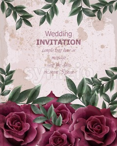 Wedding Invitation with roses Vector. Beautiful rose flowers decor. Elegant decor vintage background Stock Vector
