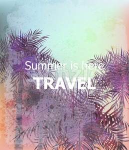 Vintage Summer travel card Vector. Palm trees tropic backgrounds. Ultra violet trendy color Stock Vector