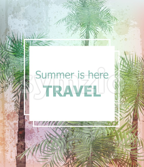 Vintage Summer travel card Vector. Palm trees tropic background