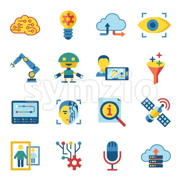 Digital vector deep machine learning and artificial intelligence icon set Stock Vector