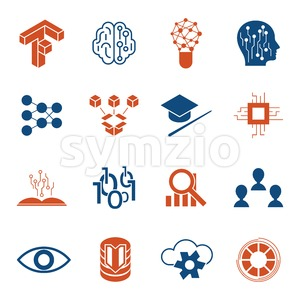Digital vector deep structured learning and artificial intelligence icon set Stock Vector