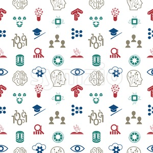 Digital vector deep structured learning and artificial intelligence icon set, seamless pattern Stock Vector