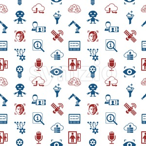 Digital vector deep machine learning and artificial intelligence icon set, seamless pattern Stock Vector