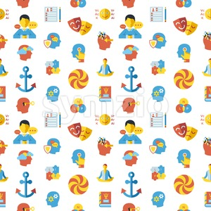 Digital vector neuro linguistic programming icon set, seamless pattern Stock Vector