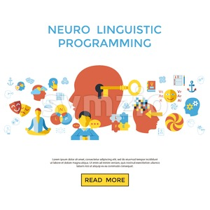 Digital vector neuro linguistic programming icon set infogprahics Stock Vector