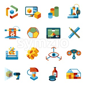Digital vector 3d printing manufacturing technology icon set Stock Vector