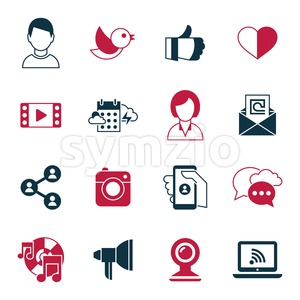 Digital vector social media and communication network icon set Stock Vector