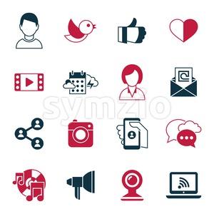 Digital vector social media and communication network icon set Stock Vector