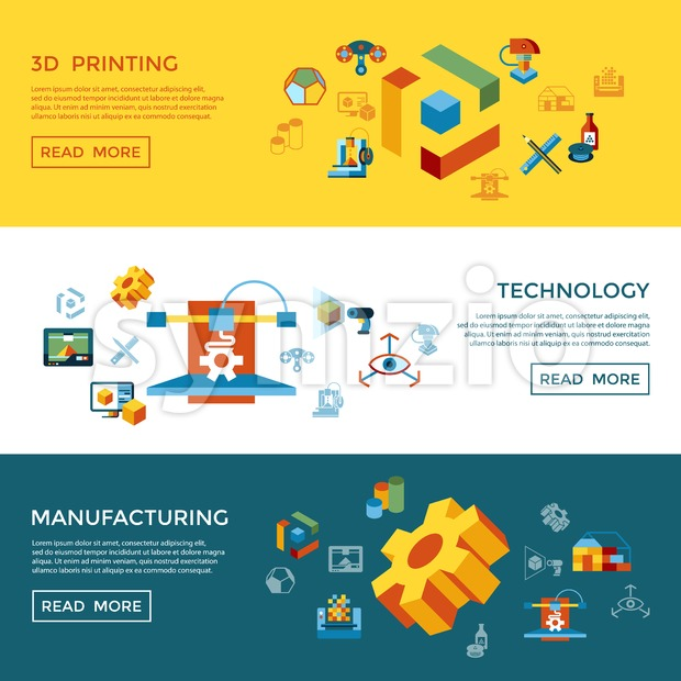 Digital vector 3d printing manufacturing technology icon set infographics