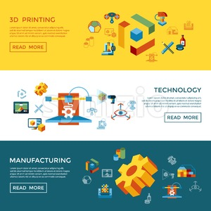 Digital vector 3d printing manufacturing technology icon set infographics Stock Vector