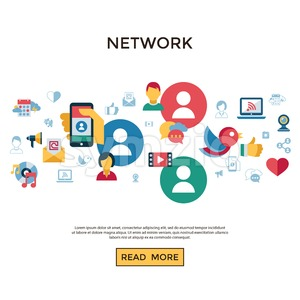 Digital vector social media and communication network icon set infographics Stock Vector