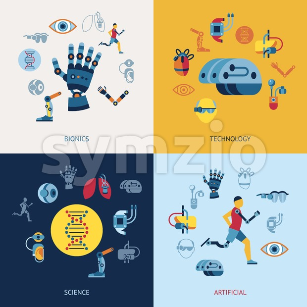 Digital vector bionics and artificial intelligence icon set infographics Stock Vector