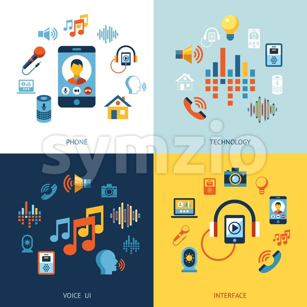 Digital vector voice control user interface and artificial intelligence icon set infographics Stock Vector