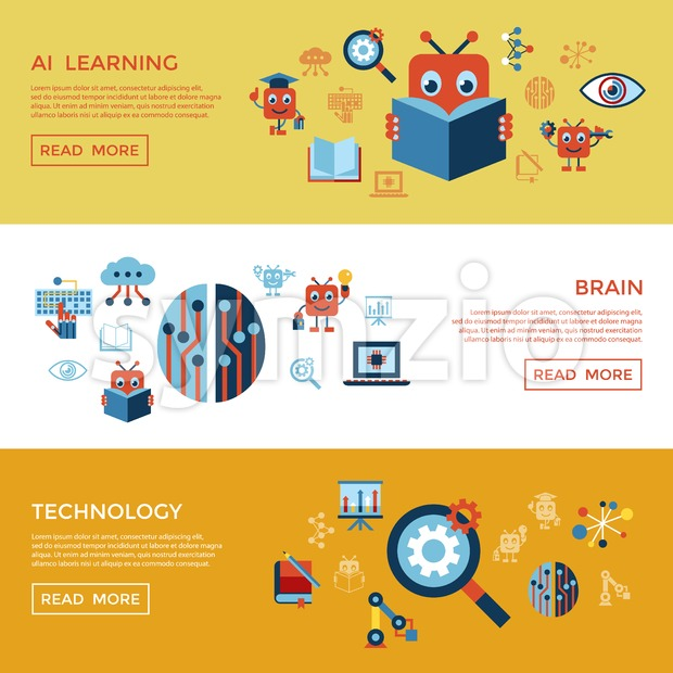 Digital vector artificial intelligence self learning icon set infographics Stock Vector