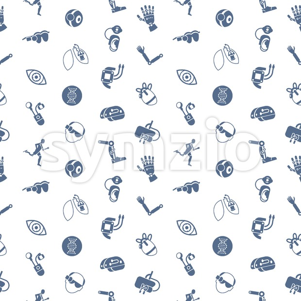 Digital vector bionics and artificial intelligence icon set, seamless pattern Stock Vector