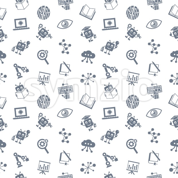 Digital vector aritificial intelligence self learning icon set, seamless pattern Stock Vector