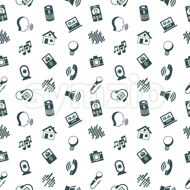 Digital vector voice control user interface and artificial intelligence icon set, seamless pattern Stock Vector