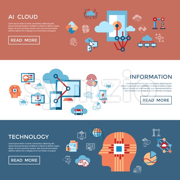 Digital vector artificial intelligence cloud icons set infographics