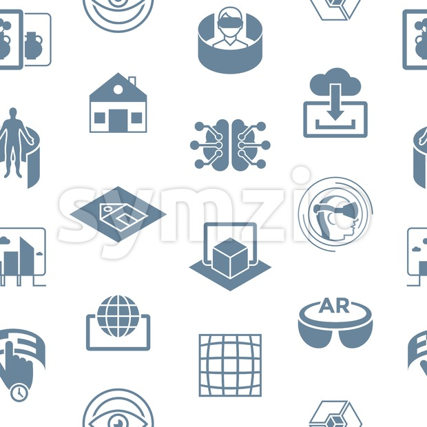 Digital vector augmented and virtual reality icons set, seamless pattern Stock Vector
