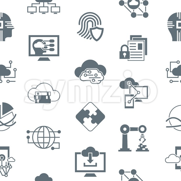 Digital vector artificial intelligence cloud icons set, seamless pattern Stock Vector