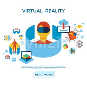Digital vector augmented and virtual reality icons set infographics Stock Vector
