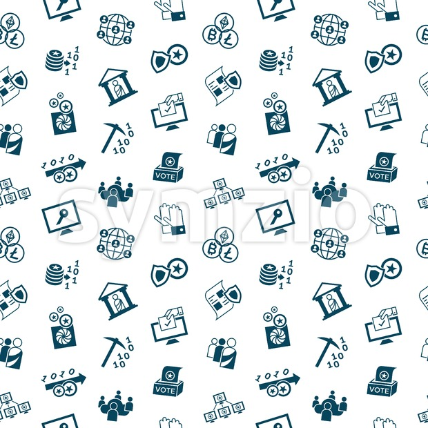 Digital vector crypto democracy and security icons set, seamless pattern Stock Vector